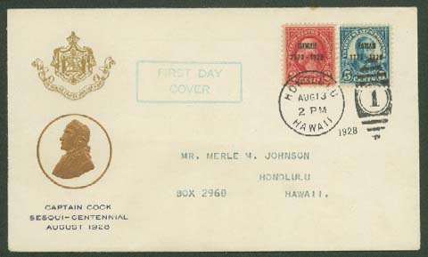 F.W. Reid First Day Cover Captain Cook Sesquicentennial
