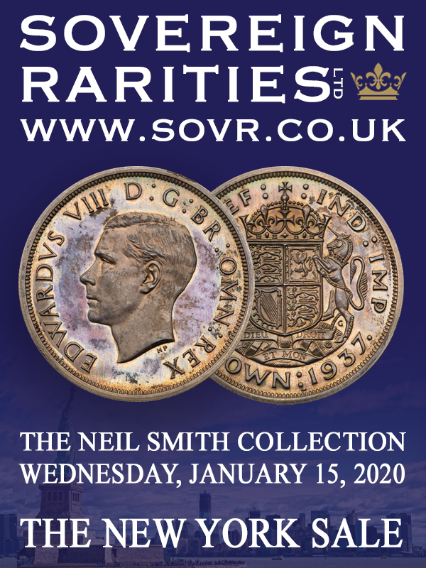 Sovereign Rarities E-Sylum ad 2019-12-08 NYINC sale