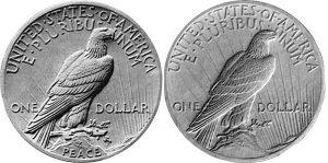 Original Peace Dollar reverse design