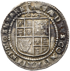 1623 James I Heavy Weight silver Sixpence reverse
