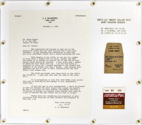 1927-D $20 gold piece Mr Lima plaque