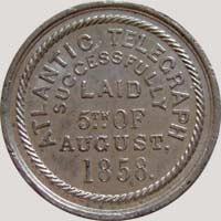 1858 Lovett Atlantic Telegraph token reverse