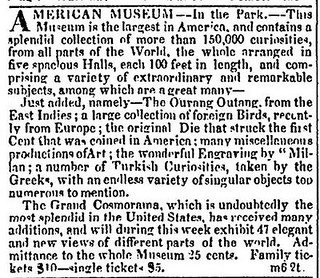 March 6, 1828 American Museum ad Fugio Cent dies