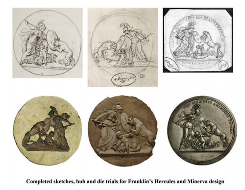 Franklin's Hercules and Minerva design for ther Libertas Americana medal