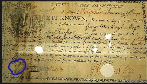 1792 George Washington bond circled dollar sign