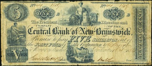 central-bank-of-new-brunswick fiver shillings note