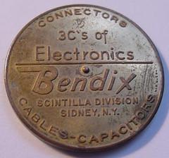 Bendix Electronics Spinner Medal reverse