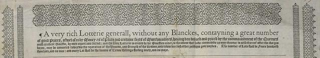 1567 England lottery broadside top