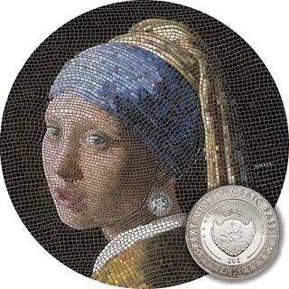 Girl with a Pearl Earring micromosaic coin obverse