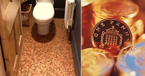 bathroom floor tiled with pennies