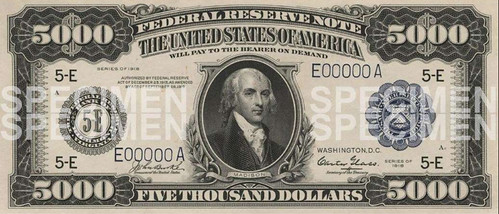 Five GThousand dollar Federal Reserve Note