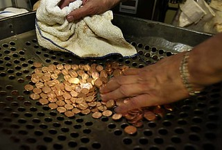 coin washing at the Westin St. Francis