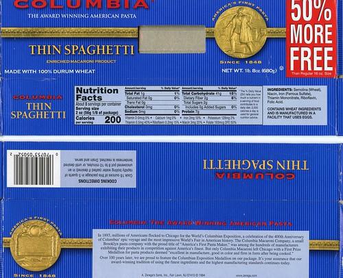 spaghetti box with medal