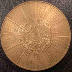 1968 Franklin Mint calendar medal reverse