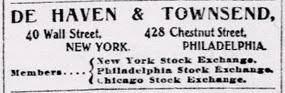 DeHaven & Townshend. NY Tribune advert 1903 Jan 3