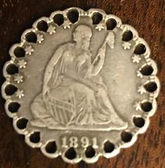 1891 25c love token obverse