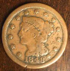 1848 Large Cent NBC Media NY obverse