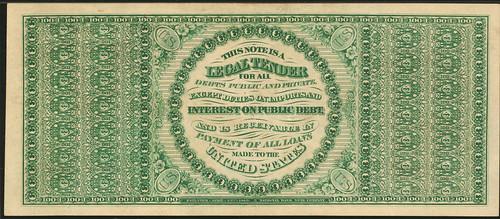 1863 $100 Legal Tender Note back