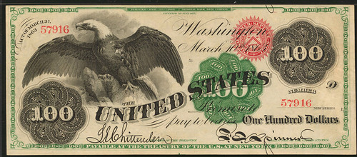 1863 $100 Legal Tender Note face
