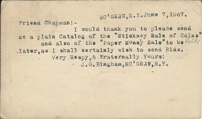 Bingham 6_7_1907 card to Chapmans