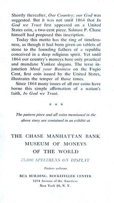 Chase Manhattan Bank Money Museum pamphlet In God We Trust page 4