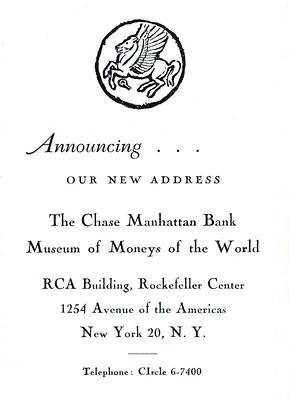 Chase Manhattan Bank Money Museum moving annoumcement