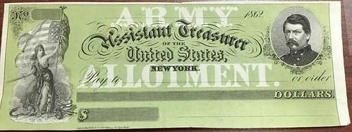 blank 1862 Civil War Paycheck