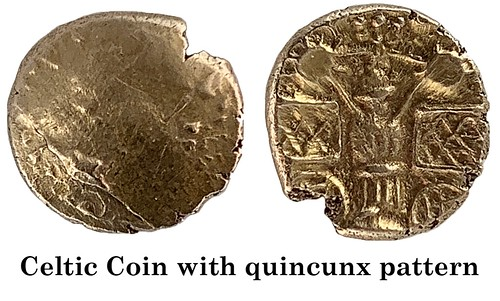 Celtic Coin with quincunx pattern small