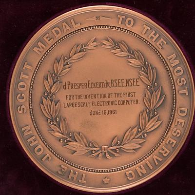 Eckert ENIAC Computer John Scott Medal reverse