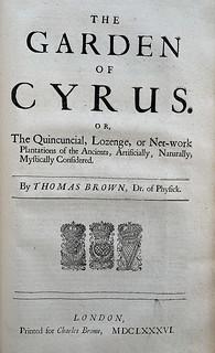 Sir Thomas Browne 1686 Garden of Cyrus Title Page