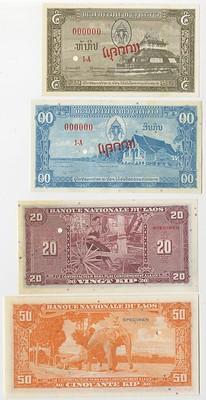 1957 Banque Nationale de Laos Specimen Banknotes