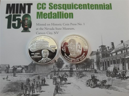 Carson City Mint 150th anniversdary medal and card