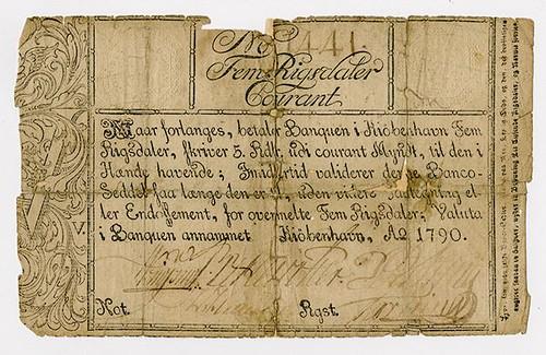 1790 Copenhagen Exchange and Mortgage Bank Note