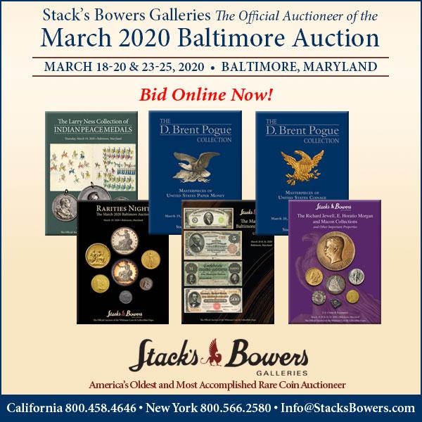 Stacks-Bowers E-Sylum ad 2020-02-23 Baltimore