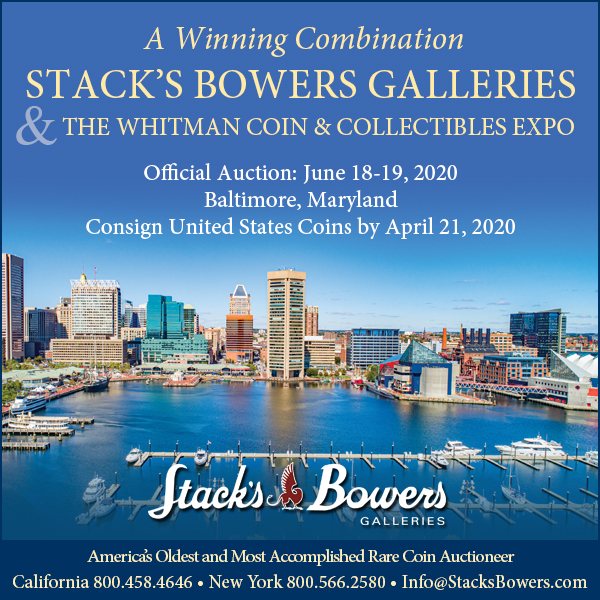 Stacks-Bowers E-Sylum ad 2020-03-22 Baltimore consign