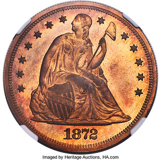 1872 Seated Dollar in Copper obverse