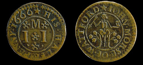 1666 Copper halfpenny token of John Morse