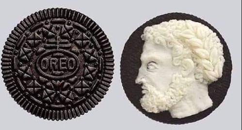 CLAUSNER, JUDITH G. Roman style Oreo cookie cameo