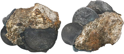clump of silver coins