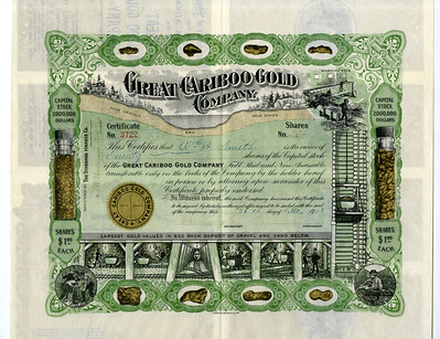 Lot 937. SD. Great Cariboo Gold Company, 1908 IU Stock Certificate