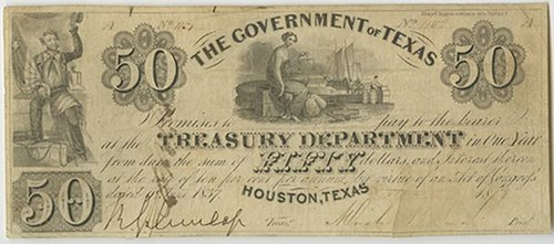 1837 Government of Texas $50 note