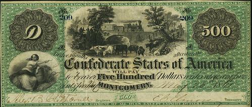 1861 Confederate $500 Montgomery T2