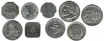 group of German notgeld coins