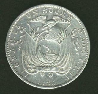 Ecuador 1890 Sucre counterstamped with RA reverse