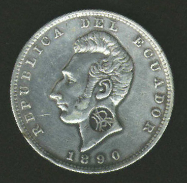 Ecuador 1890 Sucre counterstamped with RA obverse