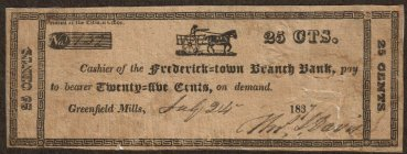Frederick-Town 25 cents scrip note