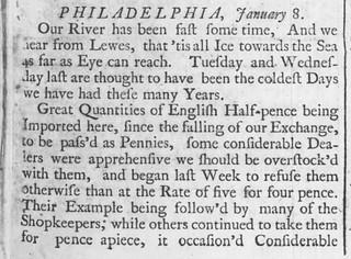 Philadelphia Halfpence riot 1740