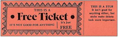 Free ticket with stub