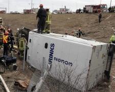 Overturned Brinks truck