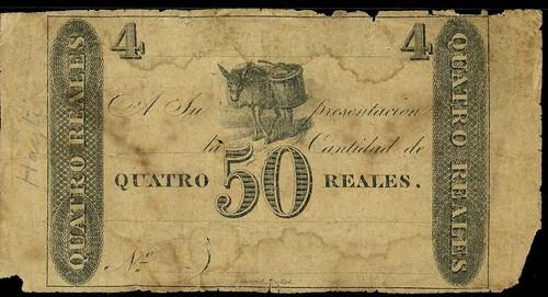 1819 Colombia 50 centavos note